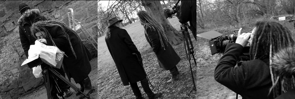 Cavan McLaughlin and Alan Moore filming on Denigrata shoot